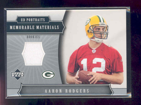 2005 UD Portraits Memorable Materials #MMAR Aaron Rodgers