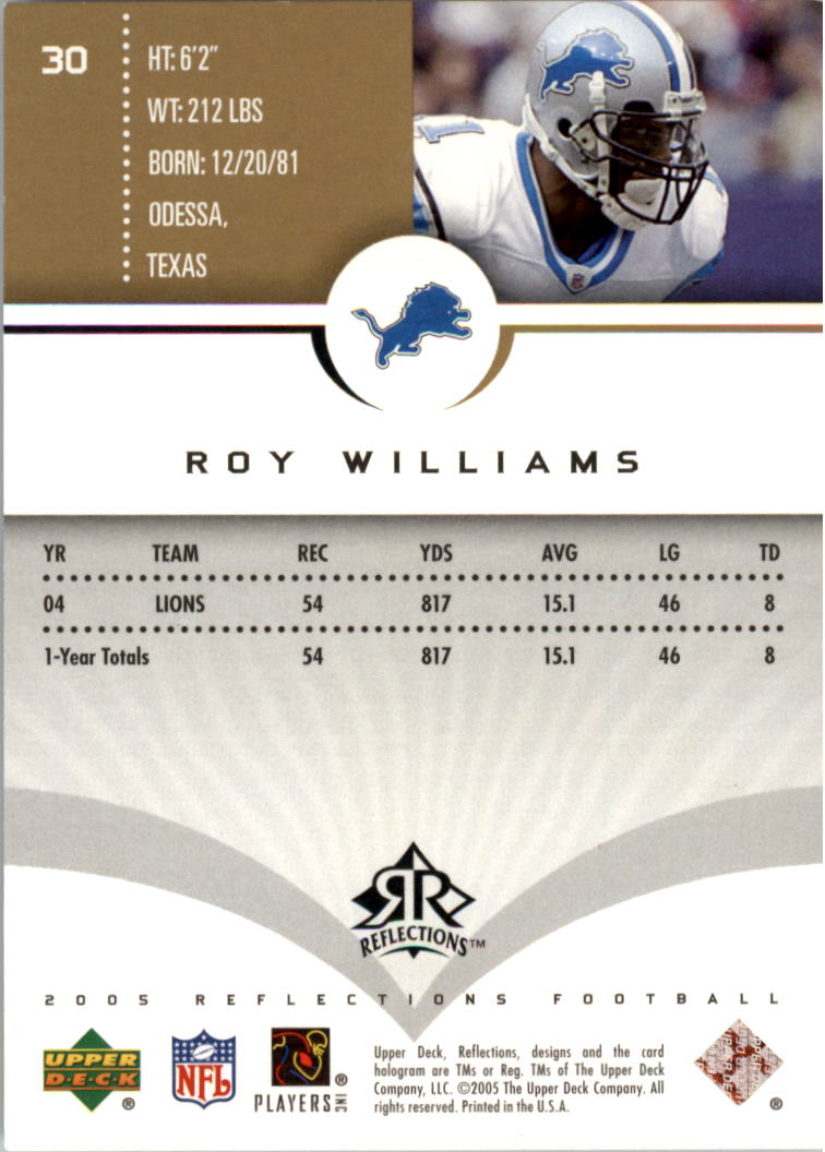 2005 Reflections Gold #30 Roy Williams WR back image