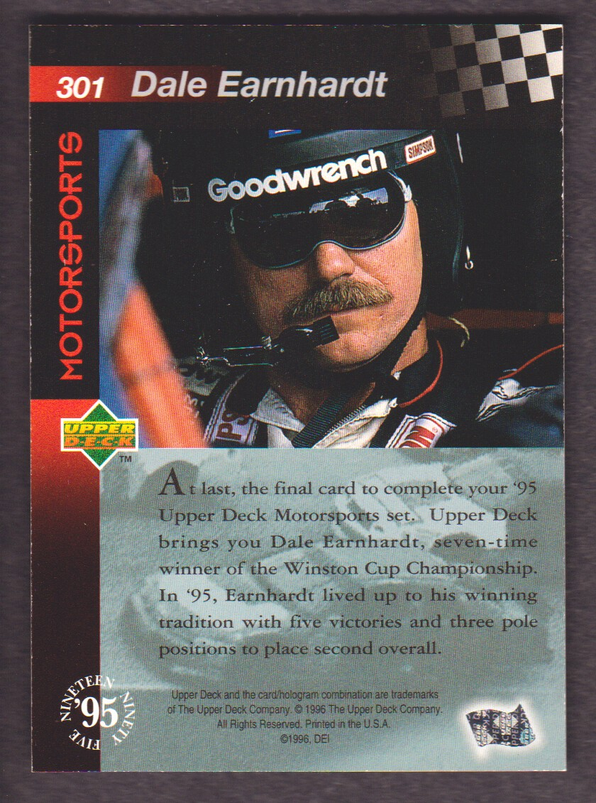 1996 Upper Deck Road To The Cup #301 Dale Earnhardt back image