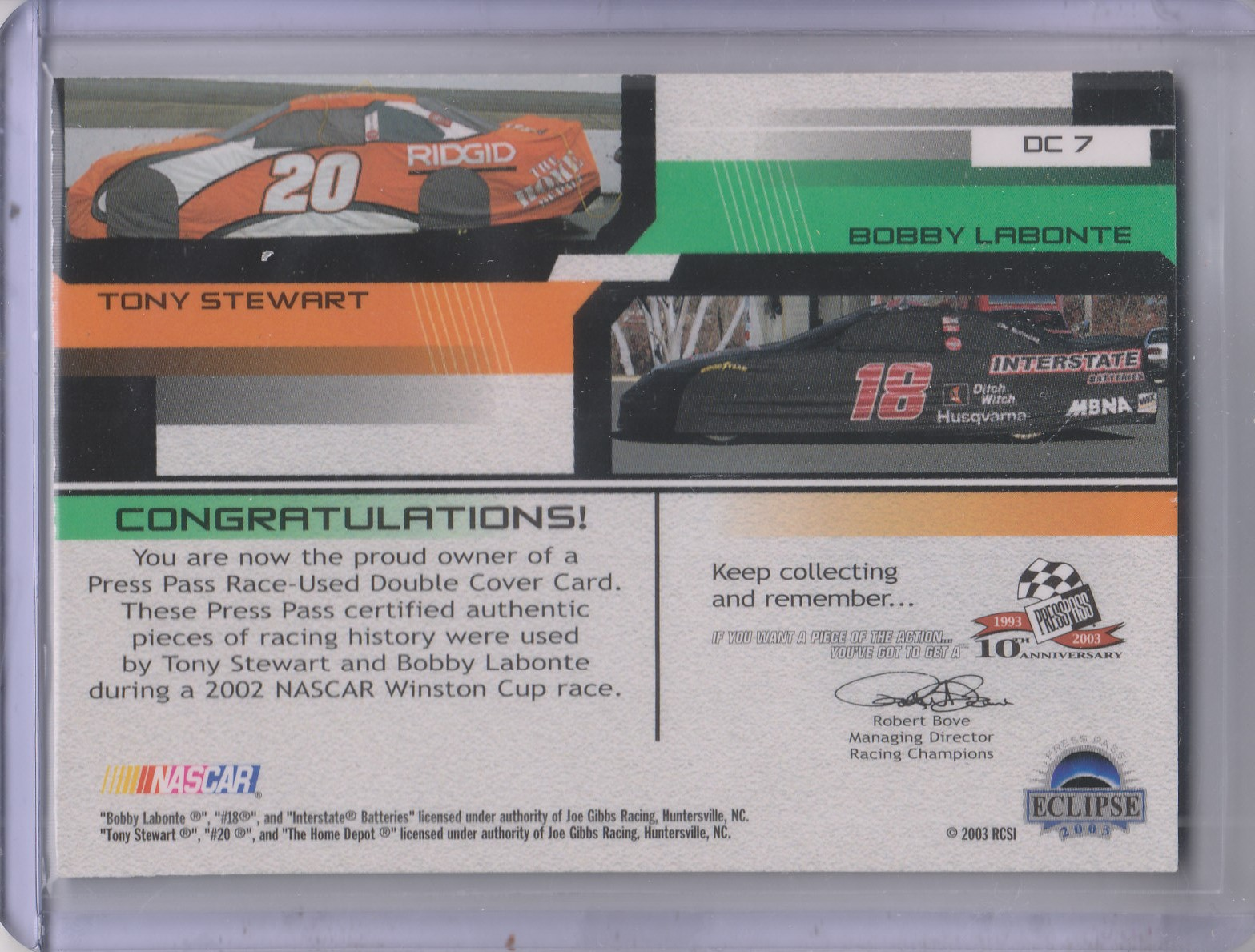 2003 Press Pass Eclipse Under Cover Double Cover #DC7 Bobby Labonte/Tony Stewart back image
