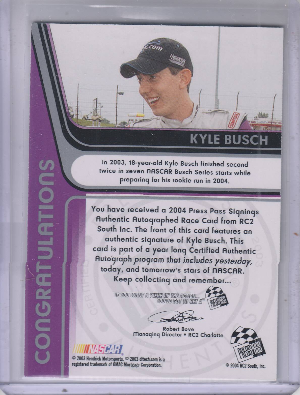 2004 Press Pass Signings #10 Kyle Busch O/P/S/T/V back image
