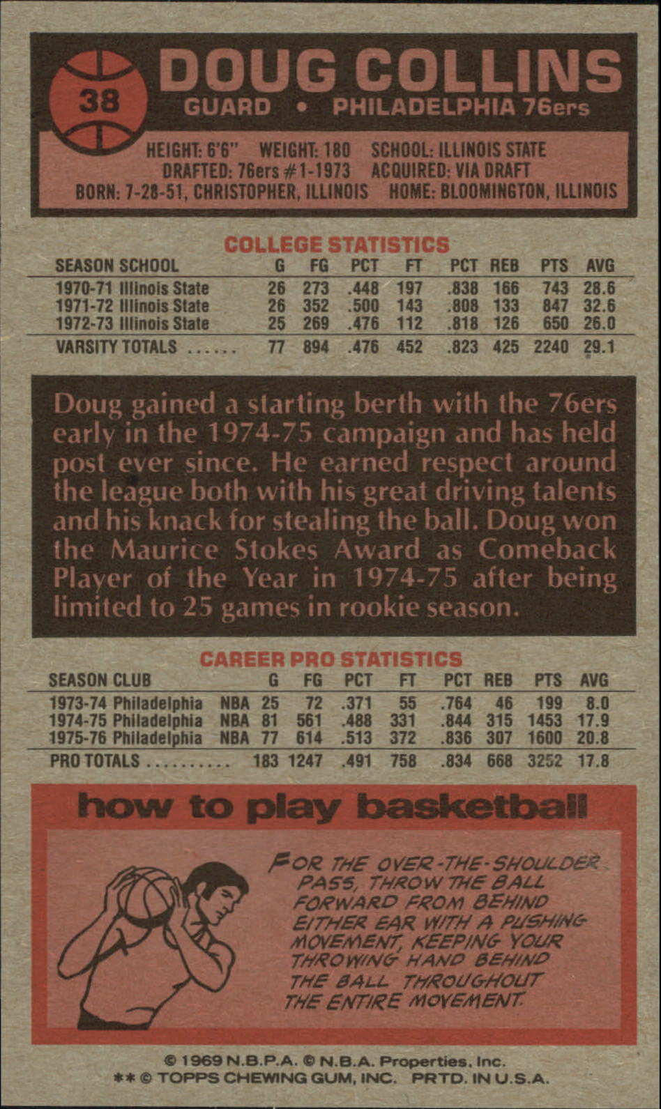 1976-77 Topps #38 Doug Collins back image