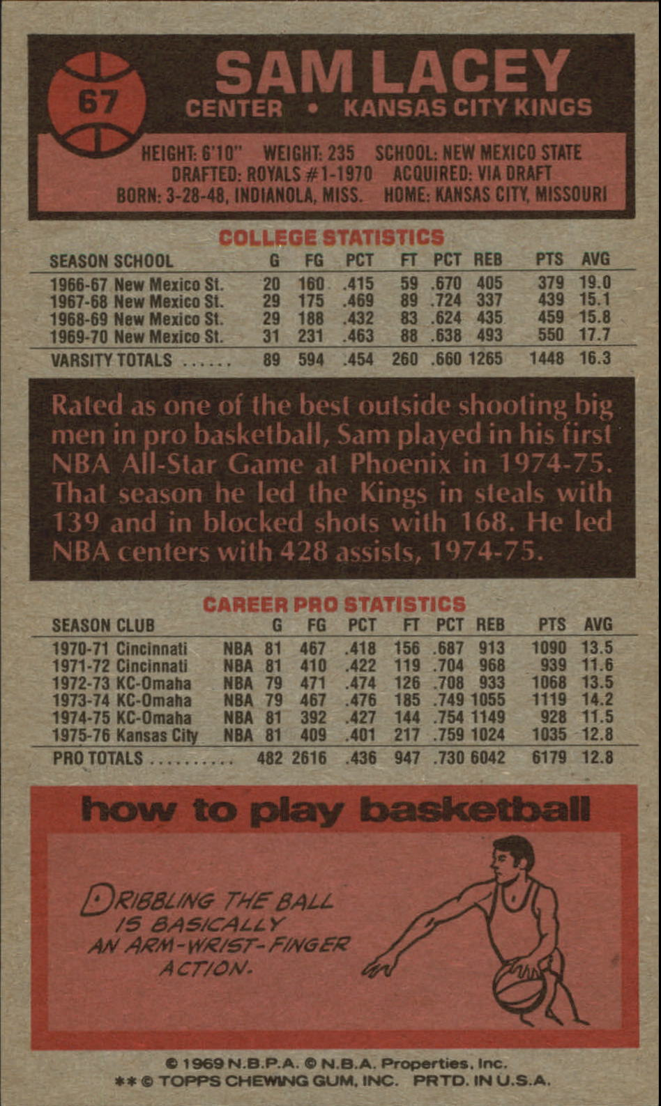 1976-77 Topps #67 Sam Lacey back image