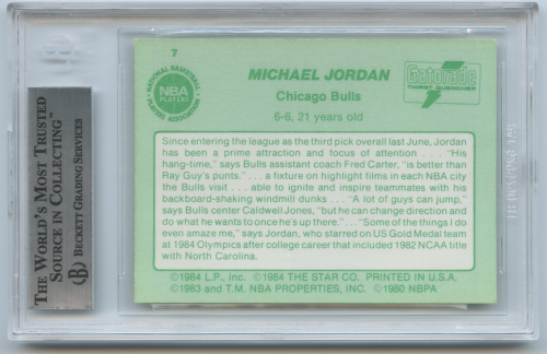 1985 Star Gatorade Slam Dunk #7 Michael Jordan back image