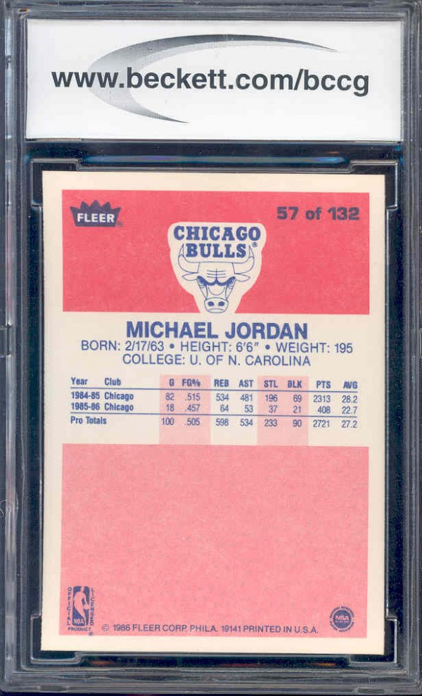 1986-87 Fleer #57 Michael Jordan RC back image