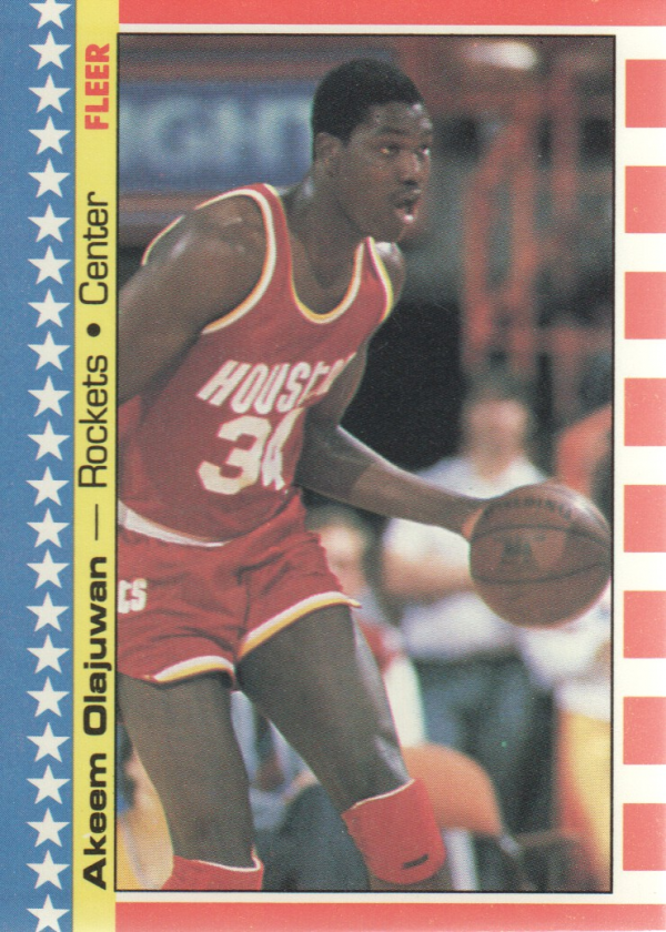 1987-88 Fleer Stickers #3 Hakeem Olajuwon UER/(Misspelled Olajuwan on card back)