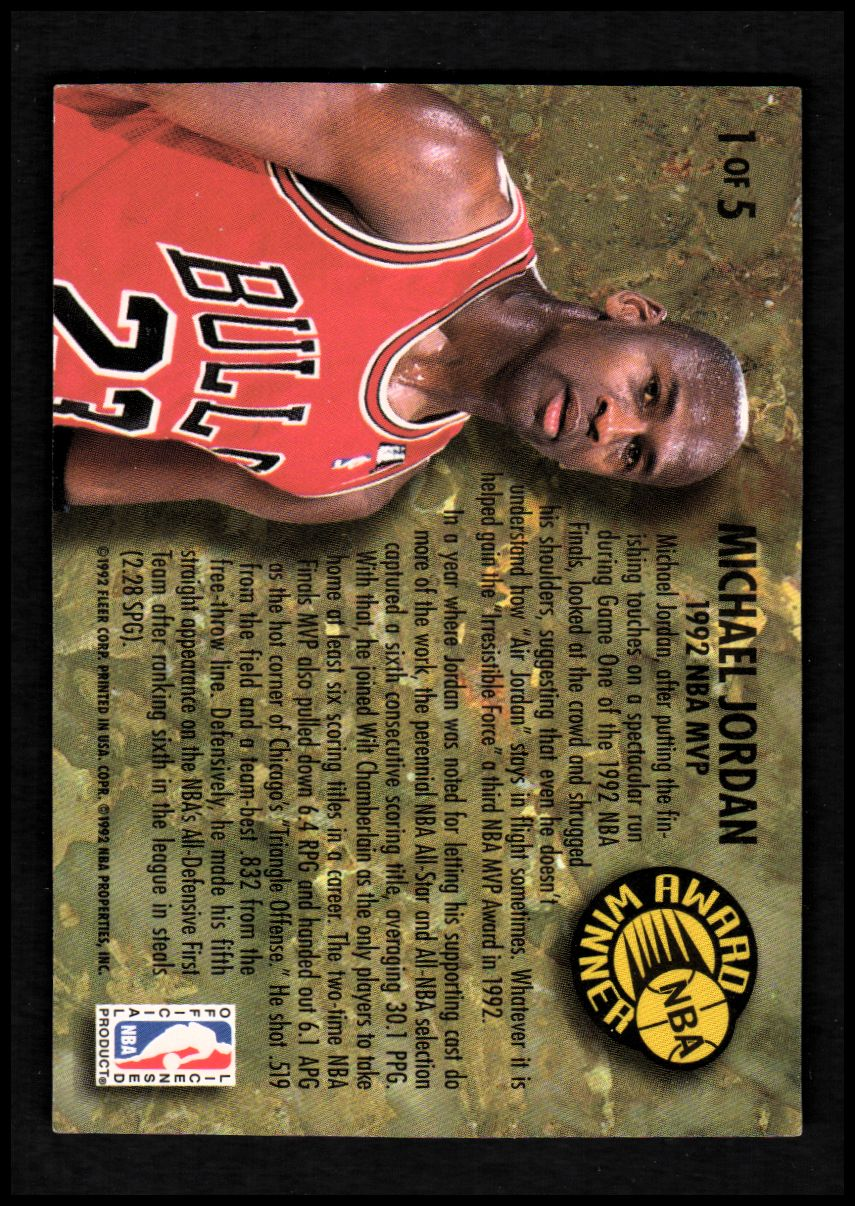1992-93 Ultra Award Winners #1 Michael Jordan back image