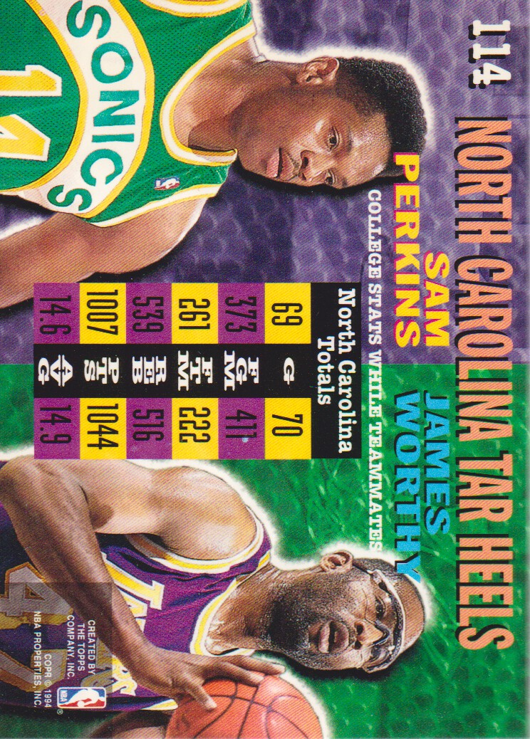 1994-95 Stadium Club Super Teams NBA Finals #114 Sam Perkins CT/James Worthy CT back image
