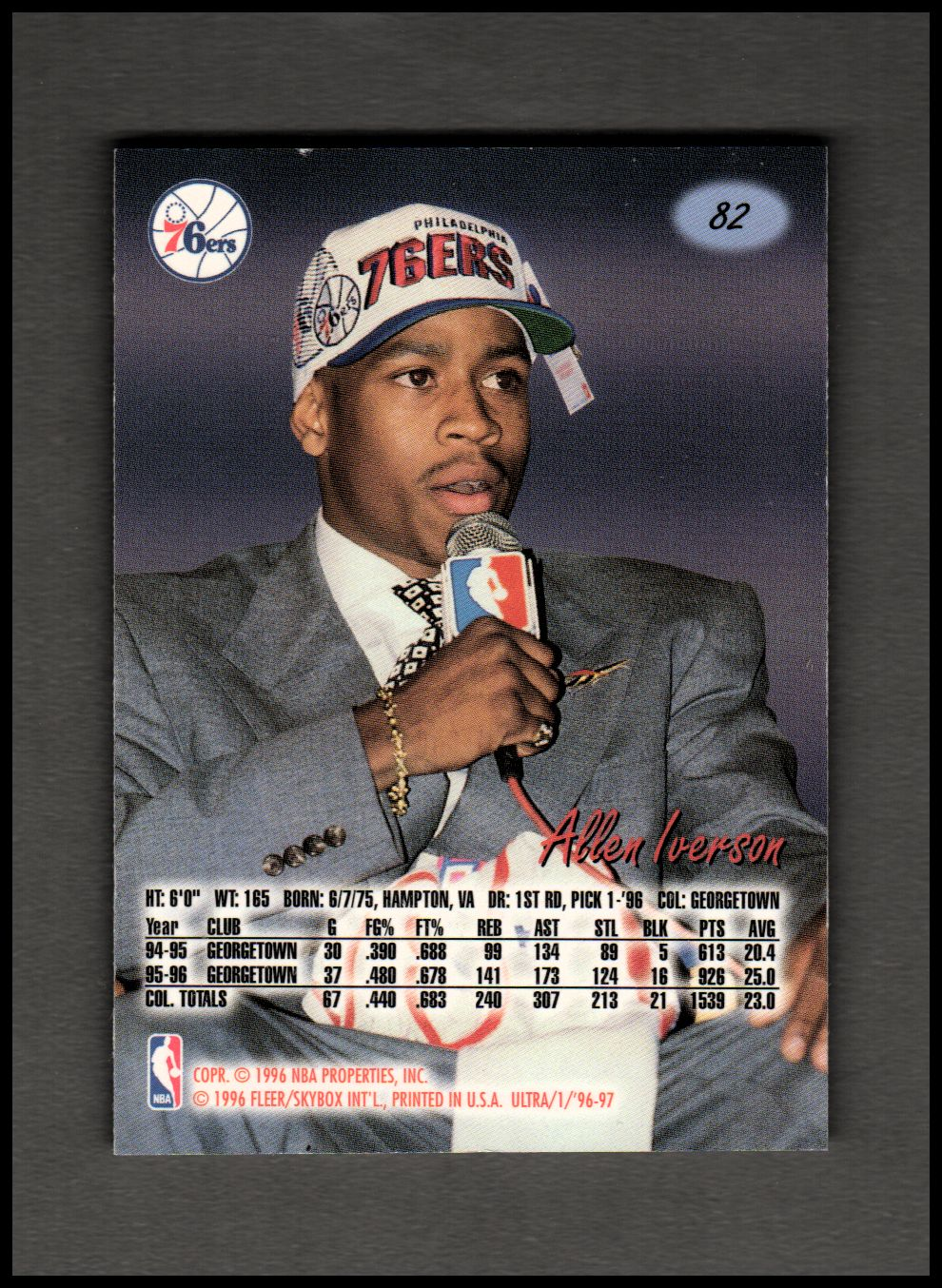 1996-97 Ultra #82 Allen Iverson RC Rookie Card 76ers ...