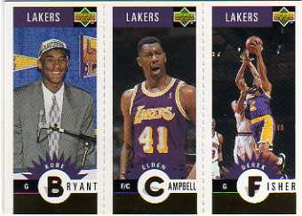 1996-97 Collector's Choice Los Angeles Lakers #L1 Kobe Bryant/Elden Campbell/Derek Fisher
