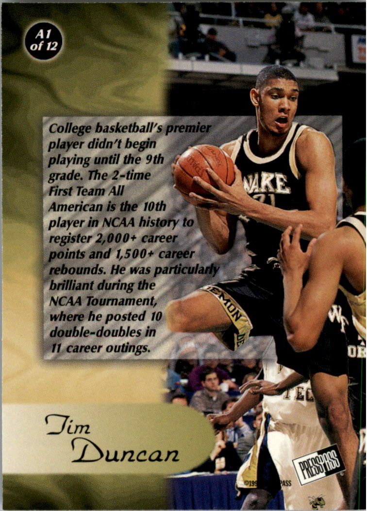 1997 Press Pass All-American #A1 Tim Duncan back image
