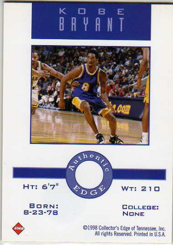 1997 Collector's Edge Game Ball #2 Kobe Bryant back image