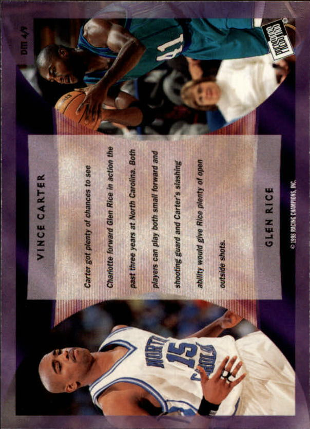 1998 Press Pass Double Threat Dreammates #DM4 Vince Carter/Glen Rice back image