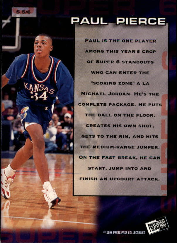 1998 Press Pass Super Six #S5 Paul Pierce back image