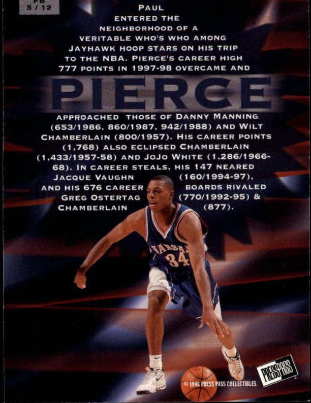 1998 Press Pass Fastbreak #FB5 Paul Pierce back image