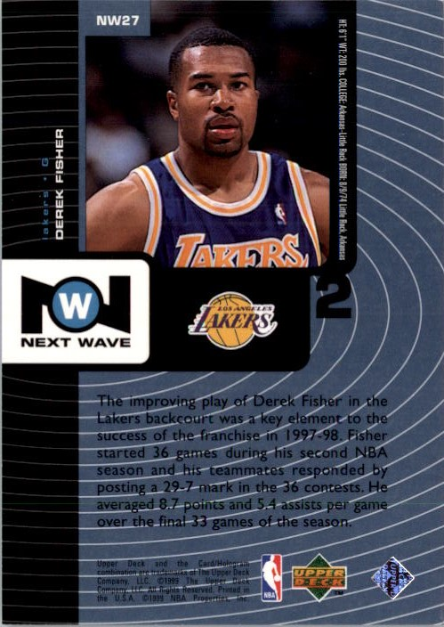 1998-99 Upper Deck Next Wave #NW27 Derek Fisher back image