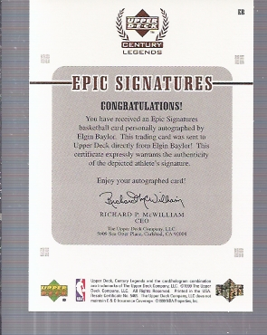 1999 Upper Deck Century Legends Epic Signatures #EB Elgin Baylor back image