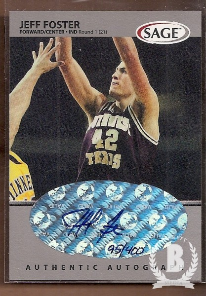 1999 SAGE Autographs Silver #A19 Jeff Foster/400