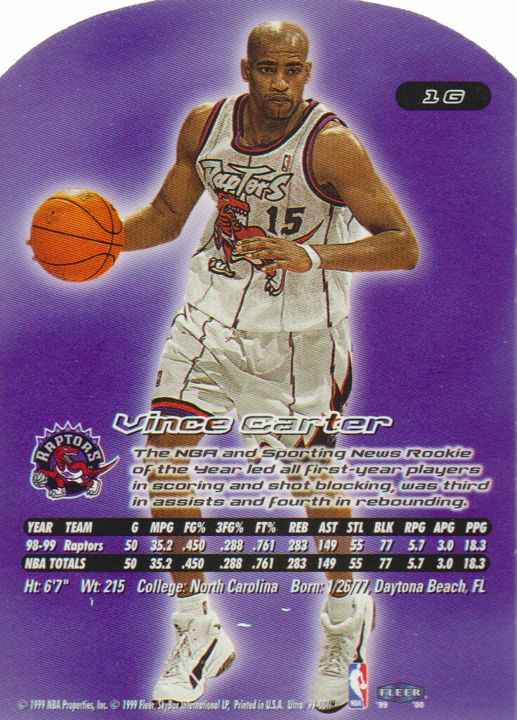 1999-00 Ultra Gold Medallion #1 Vince Carter back image
