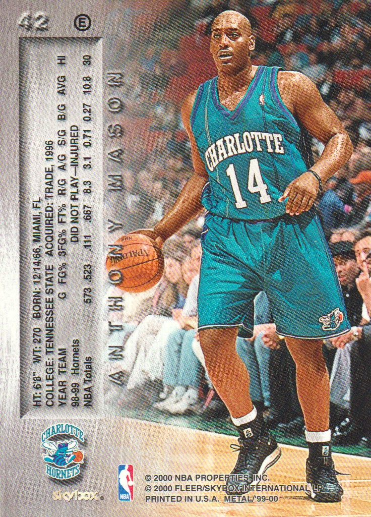 1999-00 Metal Emeralds #42 Anthony Mason back image