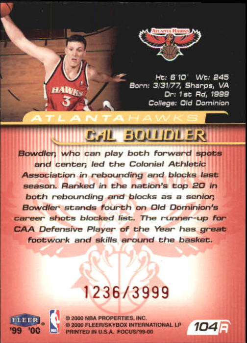 1999-00 Fleer Focus #104 Cal Bowdler RC back image