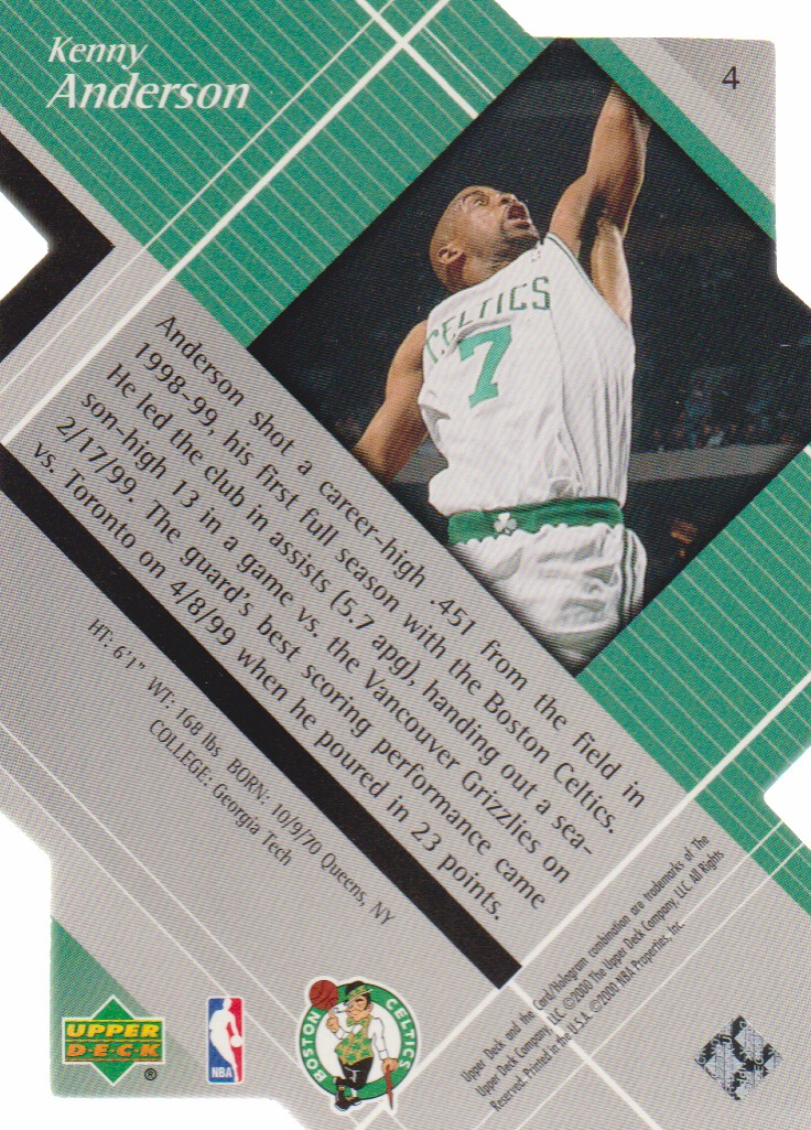 1999-00 Black Diamond Diamond Cut #4 Kenny Anderson back image
