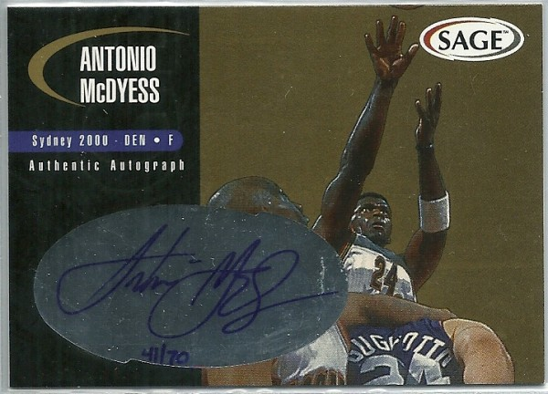 2000 SAGE Autographs Gold #A34 Antonio McDyess/70