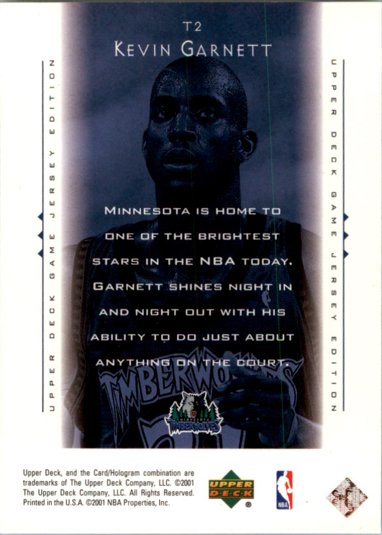 2000-01 Upper Deck Touch the Sky #T2 Kevin Garnett back image