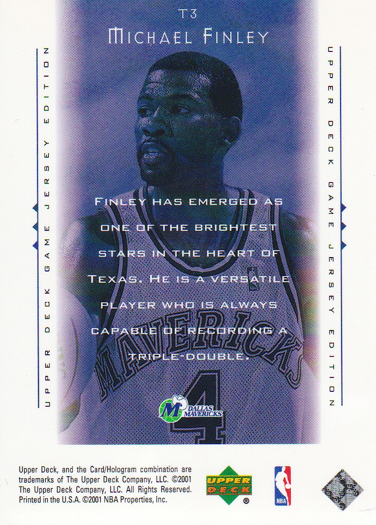 2000-01 Upper Deck Touch the Sky #T3 Michael Finley back image