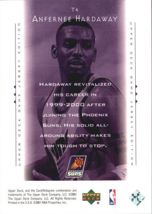 2000-01 Upper Deck Touch the Sky #T4 Anfernee Hardaway back image