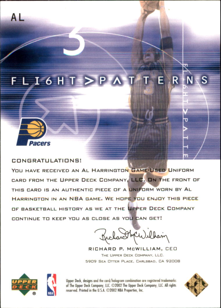 2001-02 Upper Deck Flight Team Flight Patterns Gold #AL Al Harrington back image