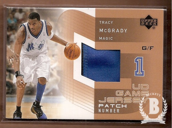 2002-03 Upper Deck UD Game Jerseys Patch Numbers 1 #TMP Tracy McGrady