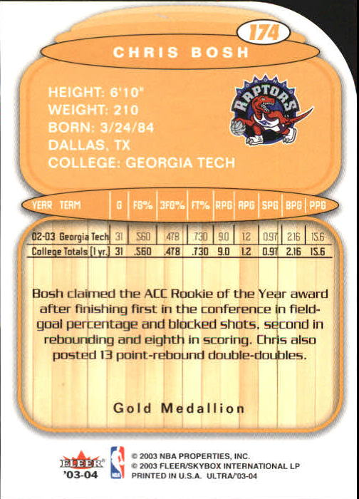 2003-04 Ultra Gold Medallion #174 Chris Bosh L13 back image