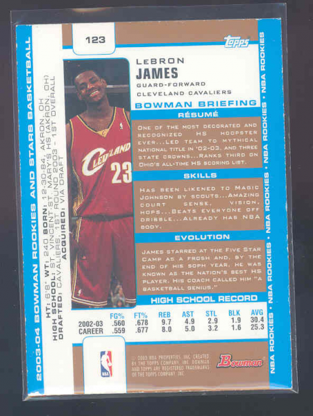 2003-04 Bowman Gold #123 LeBron James back image
