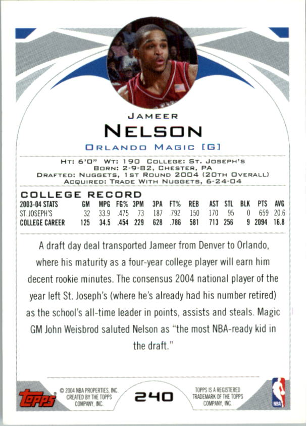 2004-05 Topps First Edition #240 Jameer Nelson back image