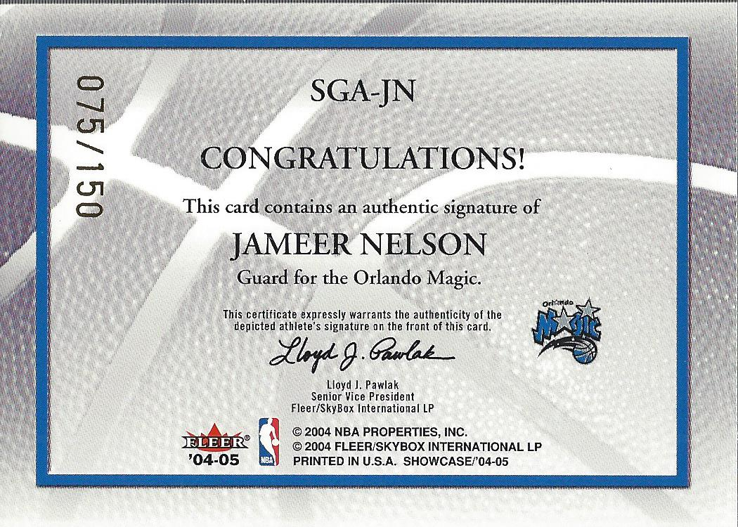2004-05 Fleer Showcase Signatures #JN Jameer Nelson/150 back image