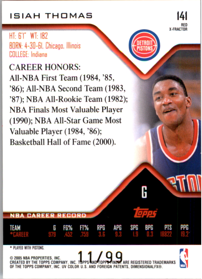 2004-05 Finest X-Fractors Red #141 Isiah Thomas back image