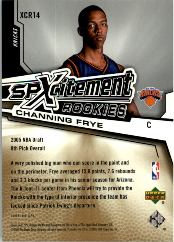2005-06 SPx SPxcitement Rookies #XCR14 Channing Frye back image