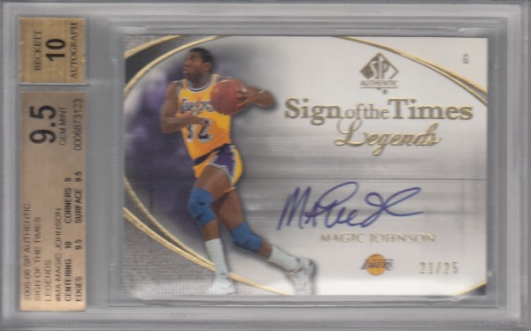 2005-06 SP Authentic Sign of the Times Legends #MA Magic Johnson