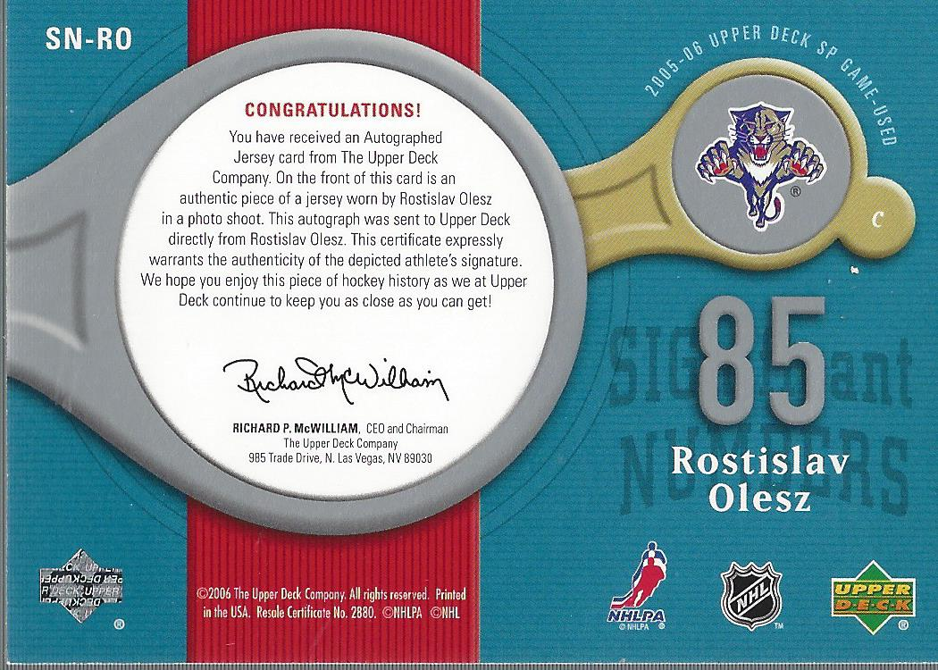 2005-06 SP Game Used Significant Numbers #SNRO Rostislav Olesz/85 back image