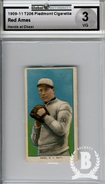 1909-11 T206 #7 Red Ames Hands at Chest