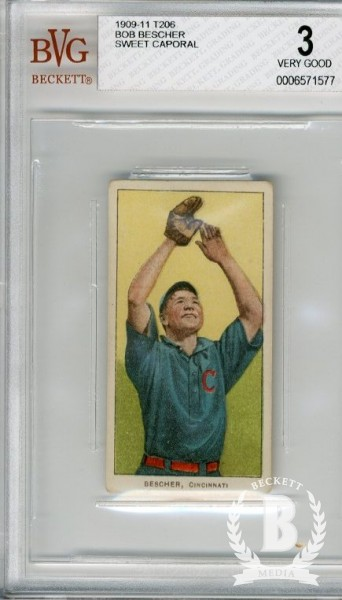 1909-11 T206 #39 Bob Bescher Hands in Air