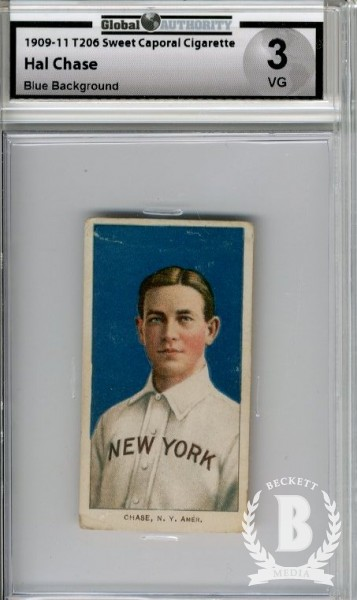 1909-11 T206 #84 Hal Chase Portrait Blue
