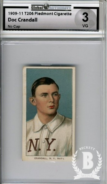 1909-11 T206 #106 Doc Crandall No Cap