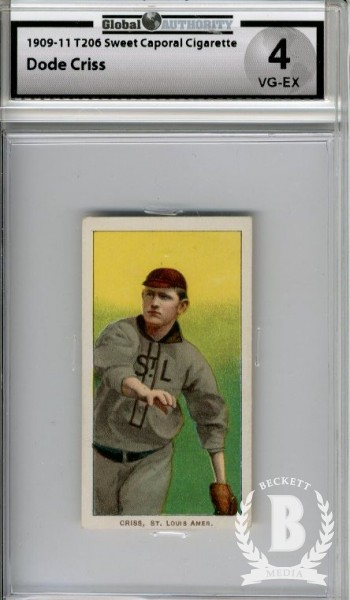 1909-11 T206 #114 Dode Criss UER