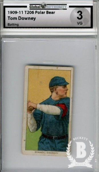 1909-11 T206 #144 Tom Downey Batting