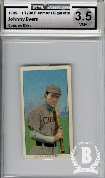 1909-11 T206 #168 Johnny Evers with Bat Cubs Shirt