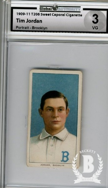 1909-11 T206 #243 Tim Jordan Brooklyn Portrait