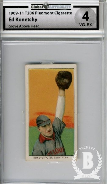 1909-11 T206 #263 Ed Konetchy Glove Above Head