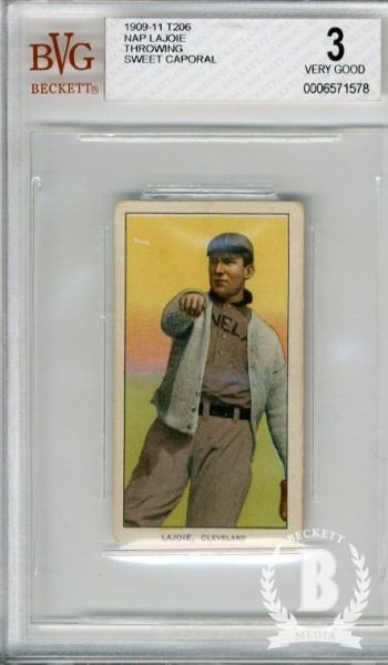 1909-11 T206 #270 Nap Lajoie Throwing